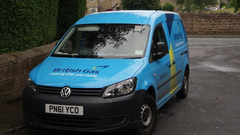 An image of a British Gas-branded van parked in a residential street in Spofforth in North Yorkshire