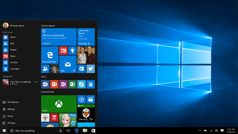 Screenshot of a Windows 10 desktop with the 'Start' menu in the foreground