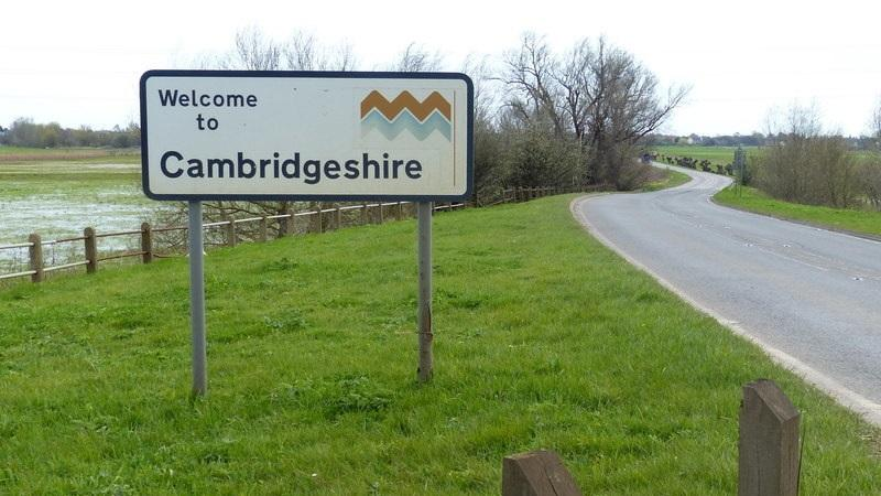 An image of a roadside sign stating 'Welcome to Cambridgeshire'