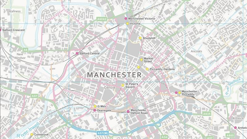 An image of the Ordnance Survey open data map of the city of Manchester