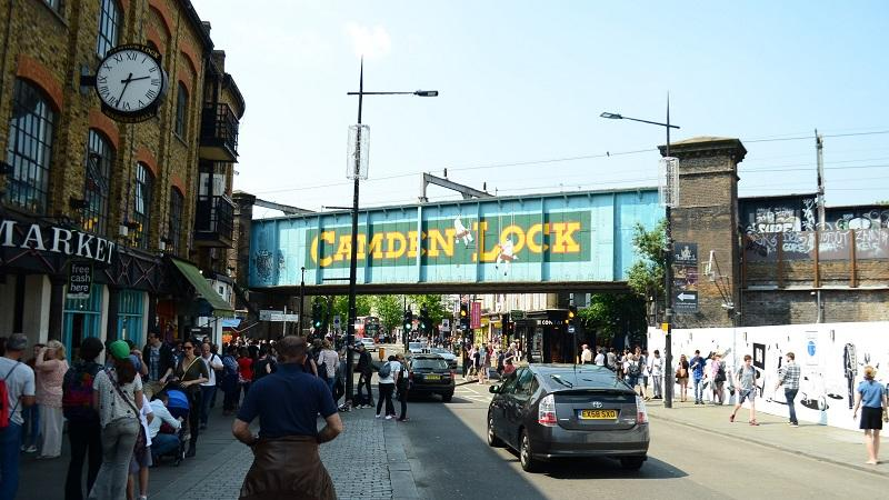 An image of the railway bridge over Camden lock