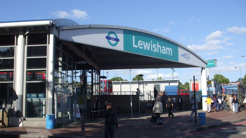 An image of the exterior of Lewisham DLR station