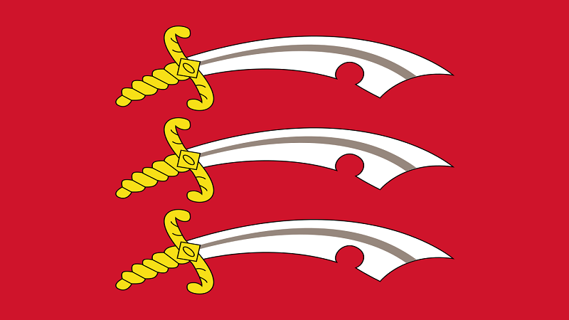 Image of the flag of Essex, featuring three swords on a red background