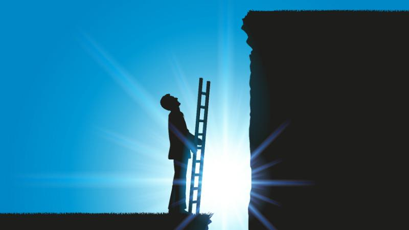 Businessman with a ladder trying to get over an obstacle