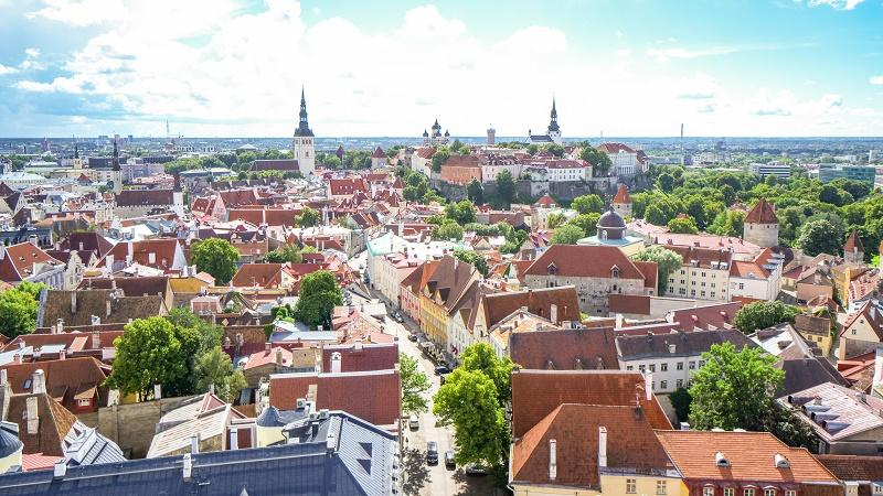 An aerial view of Tallinn Old Town