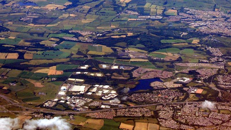 An aerial image of North Lanarkshire and the Kilsyth Hills