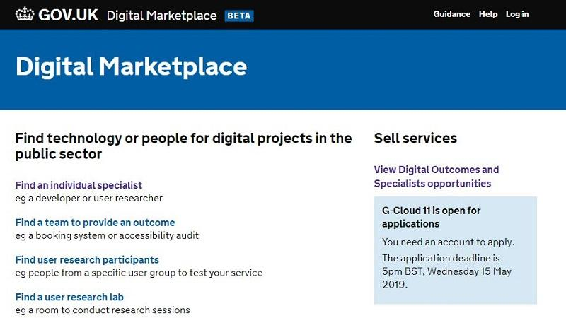 An image of the homepage of the goverment's Digital Marketplace