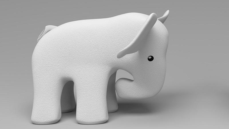 An image of a model of a white elephant