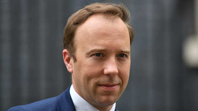 A close-up image of the face of health and social care secretary Matt Hancock
