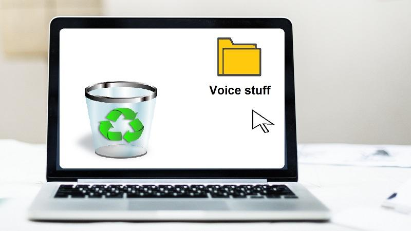 An image of a cursor lingering near a computer folder marker 'Voice stuff', with the intention of dragging it into the Recycle Bin