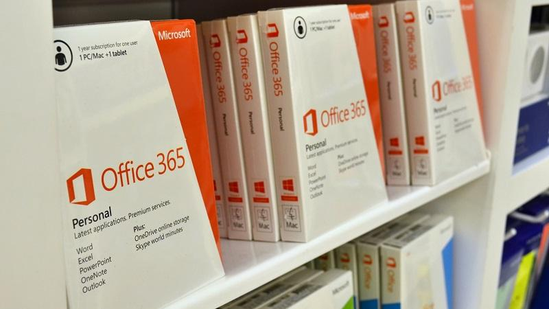 A close-up image of boxed Microsoft Office 365 products on a shelf in a store