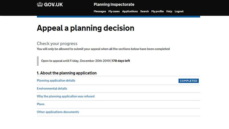 A screenshot of the new Planning Appeals online service as of July 2019