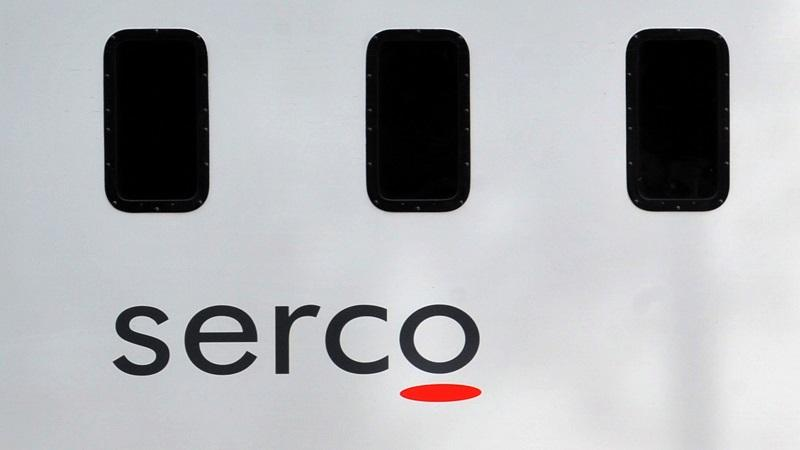 An image of the side of a prison van bearing the logo of Serco