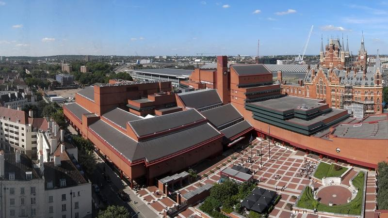 An aerial view of the British Library in London