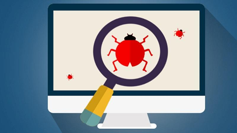 An illustration of an insect on a computer screen surrounded by a large magnifying glass