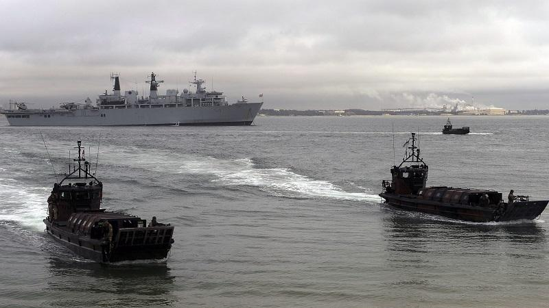 An image of Royal Marine boats taking part in a beach landing exercise