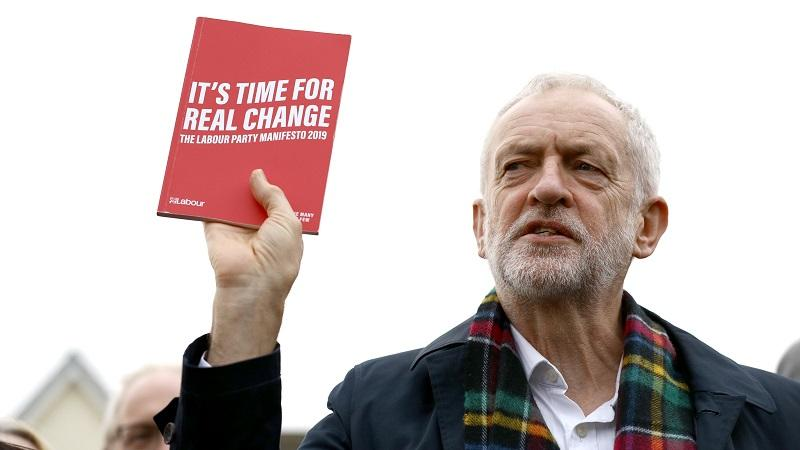 Jeremy Corbyn holds aloft Labour 2019 general election manifesto