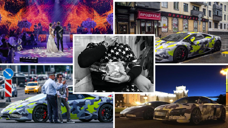 A collage of images of alleged cybercrime kingpin Maksim Yakubets and snapshots of his lavish lifestyle