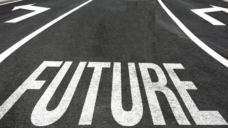 The word 'Future' marked on the road with arrows indicating left and right