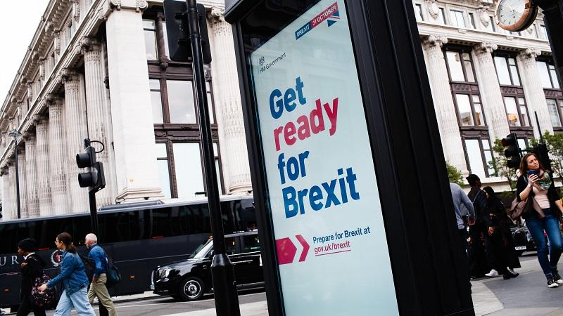 An image of a Get ready for Brexit advert displayed on a billboard on London's Oxford Street