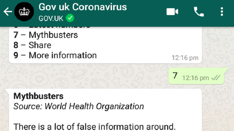 GOV.UK coronavirus chatbot