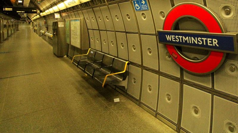 An image of an empty Jubilee Line platform at Westminster station