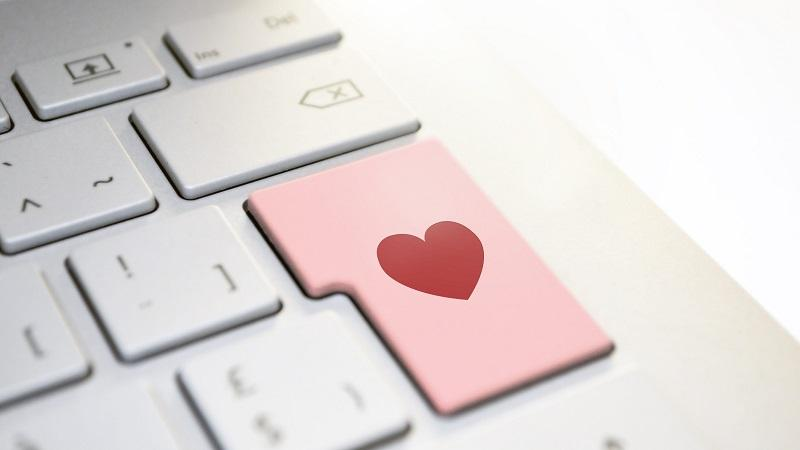 An image of a heart on a computer keyboard where you would expect the 'Enter' key to be