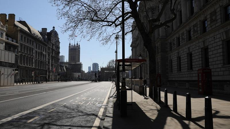 An image of an empty Whitehall during the coronavirus crisis
