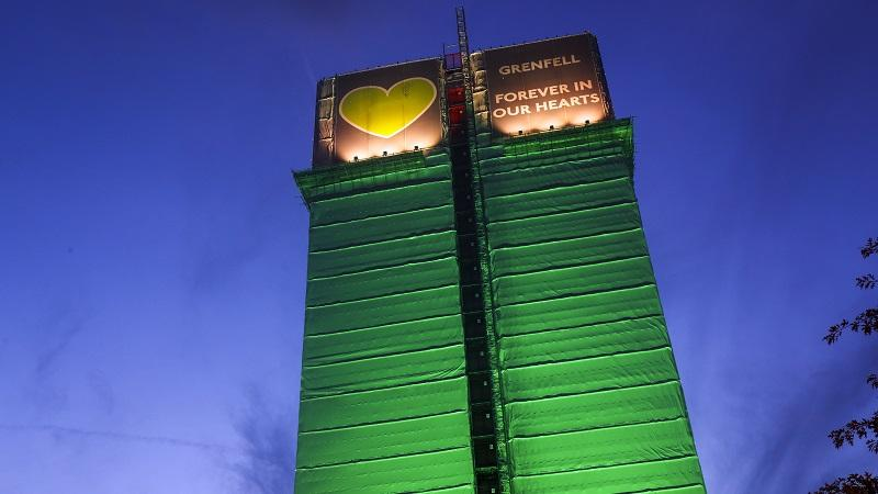 Grenfell Tower lit up with banner
