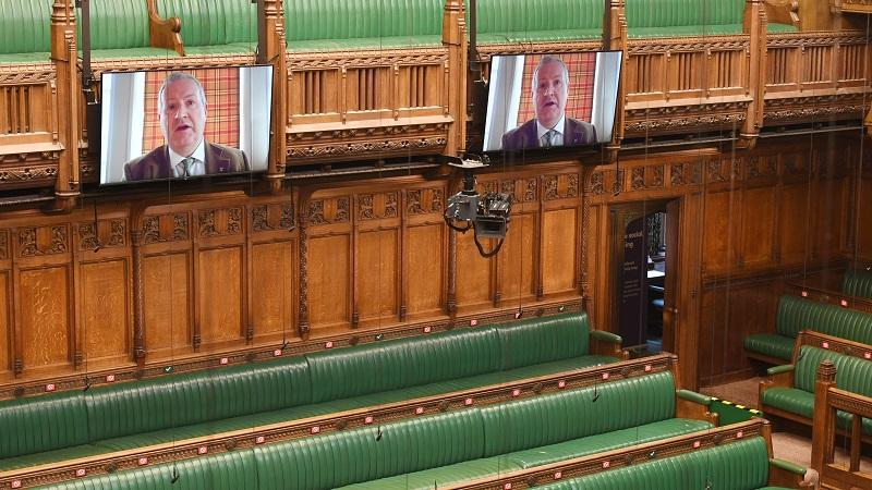 An image of SNP Commons leader Ian Blackford speaking on a video screen in the House of Commons