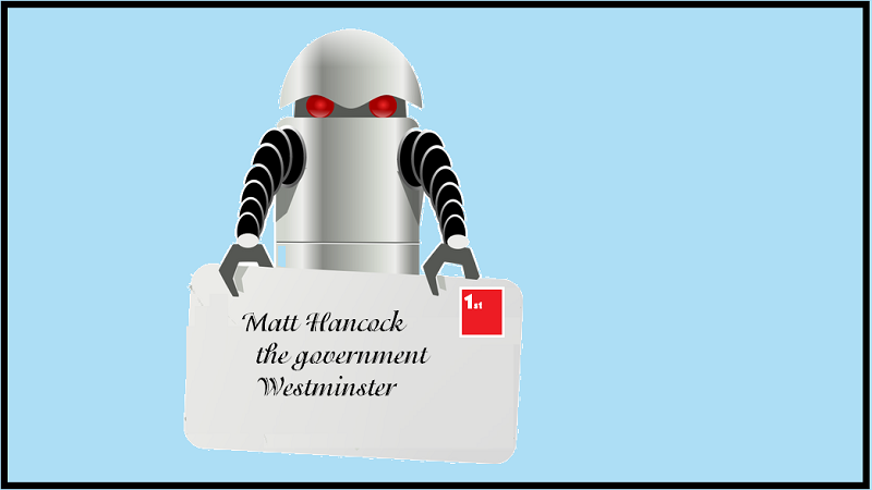 An illustration of a robot holding a letter addressed to Matt Hancock