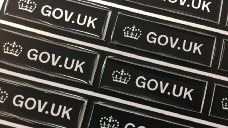 An image of lots of small GOV.UK labels
