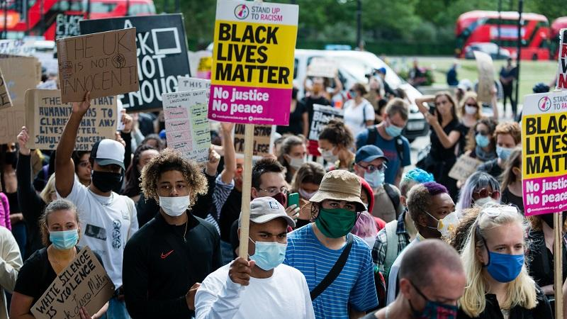 Black Lives Matter protesters gather in London