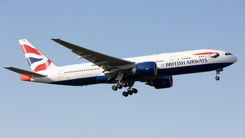 An image of a British Airways plane in the sky