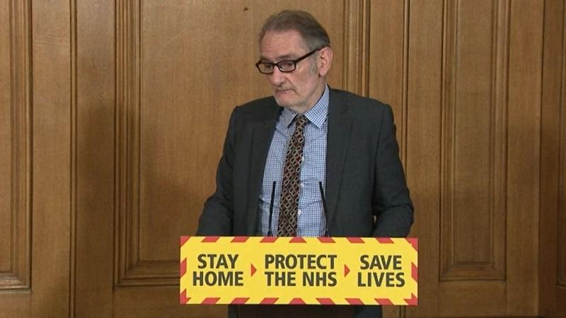 An image of national statistician Sir Ian Diamond appearing on the daily Downing Street coronavirus briefing