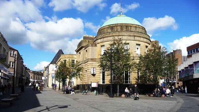 An image of the former Royal Bank of Scotland building in Kilmarnock town centre