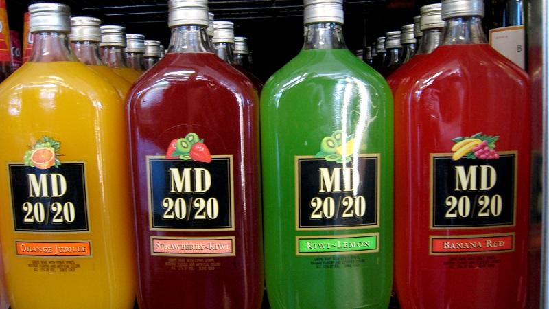 A close-up image of bottles of MD 2020 in a chiller cabinet