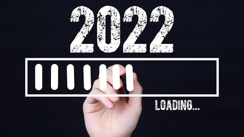 An image of a computer-style graphic reading '2022 LOADING' being drawn by hand