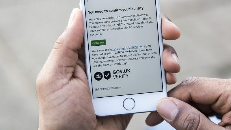 A close-up image of GOV.UK Verify being used on a phone