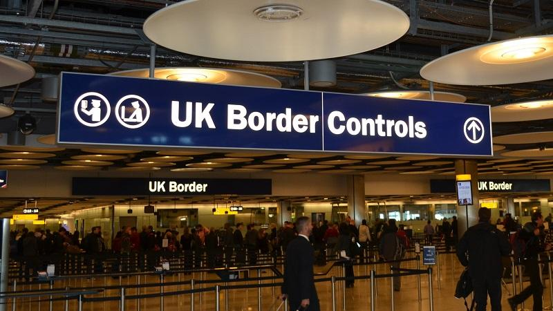 An image of the approach to the border control area of terminal five of London's Heathrow airport