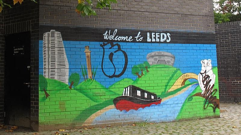 An image of a 'Welcome to Leeds' mural painted on a wall