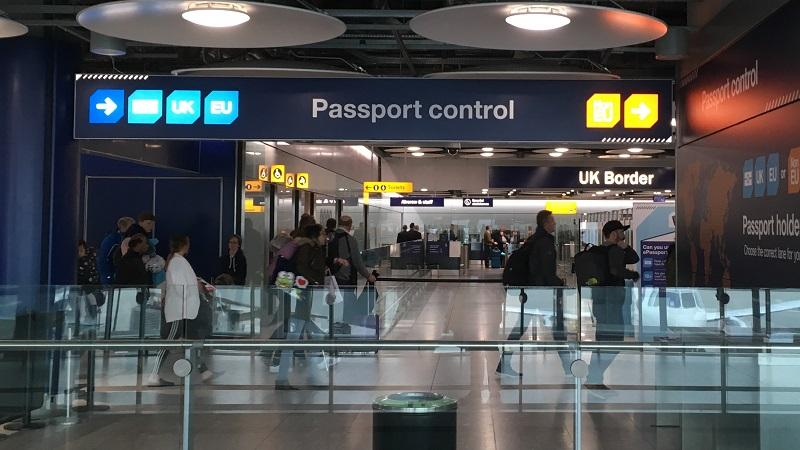 An image of the approach to the passport control area of a UK airport