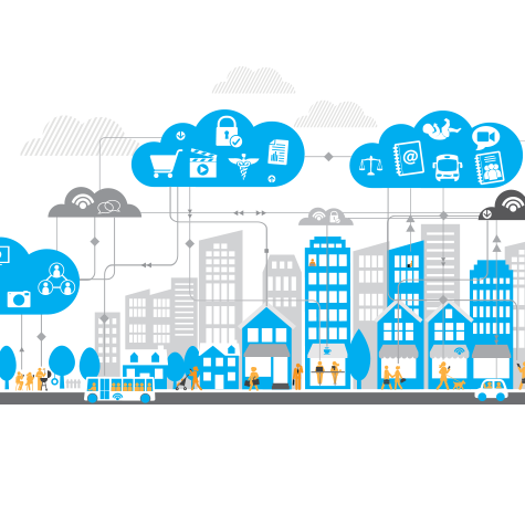 An illustration of cars and clouds representing cloud computing