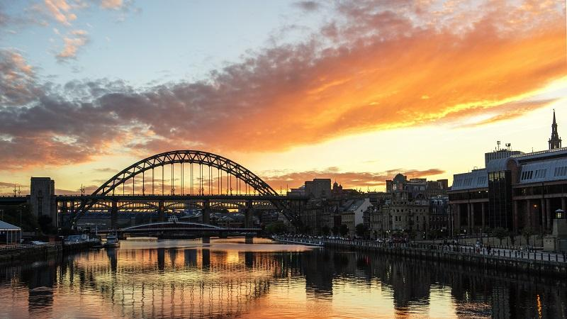An aerial image of the Tyne Bridge at sunset