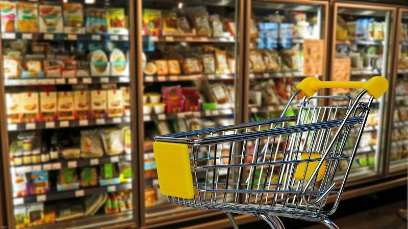 Image of shopping trolley in supermarket