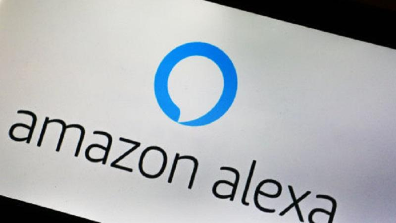 An image of the Amazon Alexa logo displayed on a smartphone screen