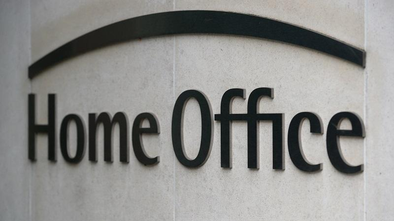 The words 'Home Office' on a sign on the outside of the department's London headquarters