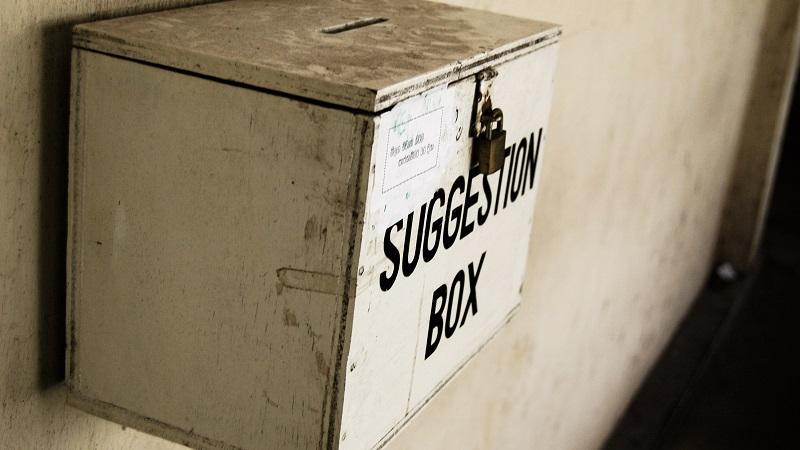 A close-up image of a suggestion box