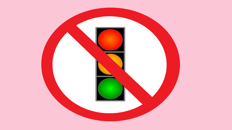 An illustration of a mock road sign that appears to suggest traffic lights are prohibited