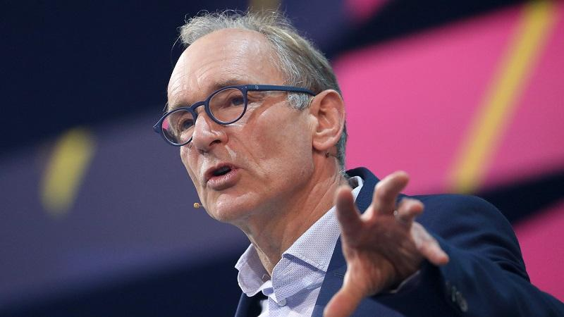 A head-and-shoulders image of Sir Tim Berners-Lee talking onstage at an event